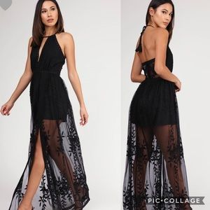 BLACK AND LACE MAXI HALTER DRESS BACKLESS